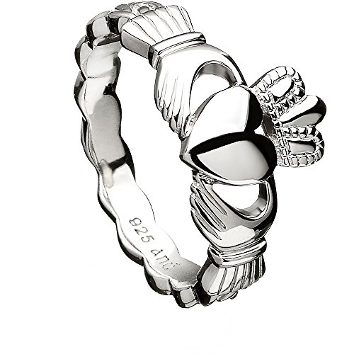 Sterling Silver Claddagh Ring ANU3014 with Celtic Weave (6)