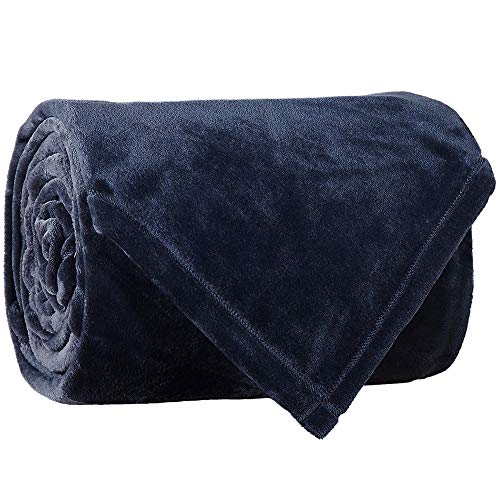 LBRO2M Fleece Bed Blanket Twin Size Super Soft Warm Fuzzy Velvet Plush Throw Lightweight Cozy Couch Blankets (65x90 Inch) Royal Blue