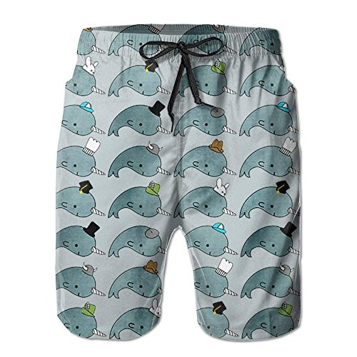Bdna Pants Beach Swim Casual Narwhals Hats Men's Jogging Sport White Trunks Shorts with Print Pants Short RqgR4a