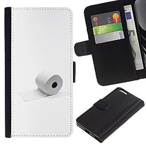 LECELL--Cuero de la tarjeta la carpeta del tirón Smartphone Slots Protección Holder For Apple Iphone 6 PLUS 5.5 -- Papel Higiénico minimalista divertido --