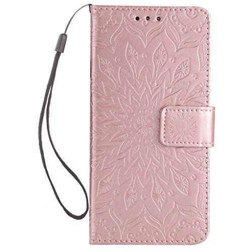 Trumpshop Smartphone Carcasa Funda Protección para Huawei Honor 6C [Rrosa] 3D Mandala PU Cuero Caja Protector Billetera Choque Absorción Oro Rosa