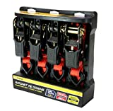 Premium Ratchet Tie Downs - 4 Pk - 15 Ft - 500 Lbs Load Cap - 1,500 Lbs Break Strength - Cargo Straps for Moving Appliances, Lawn Equipment, Motorcycles, etc. - RED