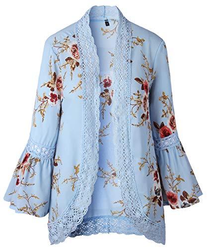 Jacket Trim - RJXDLT Womens Floral Print Kimono Cardigan Loose Puff Sleeve Cardigans Lace Patchwork Cover Up Blouse Top Blue L 213