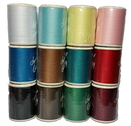 DEW Drops 100 % Polyester All Purpose Sewing Thread Spool Set 12 Multi Colored 600 Yards Per Spool & Ball Head Straight Pins