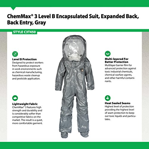 Lakeland ChemMax 3 TES Taped Level B Encapsulated Suit with Expanded Back and Back Entry, Disposable, Elastic Cuff, 3X-Large, Gray by Lakeland Industries Inc (Image #1)