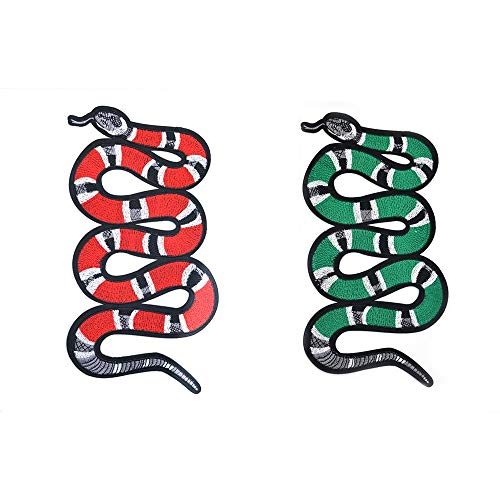 Street Snake - Iron on Patches, Sew on Patches, Red & Green Snake DIY Street Fashion Style Decoration Embroidered Iron-on Patches for DIY T-Shirt, Jeans, Jacket, Hand Bags