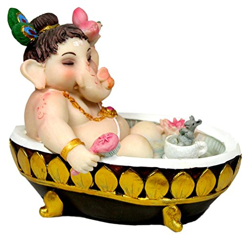 Krishna Culture Baby Ganesh Bathing in the Tub Statue 4