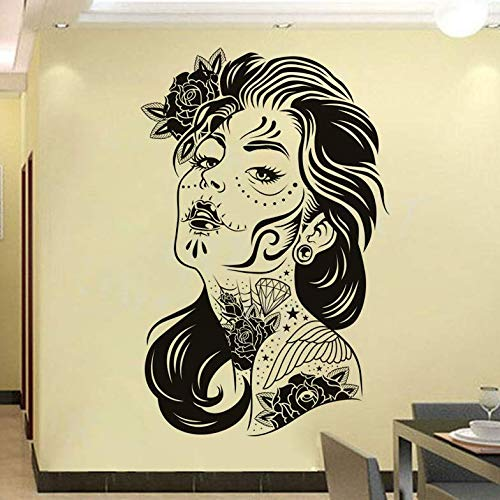 (Wall Stickers Flower Art Tattooed Woman Wall Sticker Hollow Out New Design Creative Home Decor Removable Vinyl for Living Room)