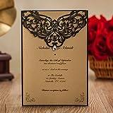 Luxury Rhinestone Gem Diamond Floral Wedding Invitations Elegant Black Laser Cut Party Decorations Friend Cards LA825 (100)