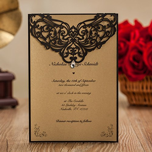 Luxury Rhinestone Gem Diamond Floral Wedding Invitations Elegant Black Laser Cut Party Decorations Friend Cards LA825 (100) by Wishmade (Image #6)