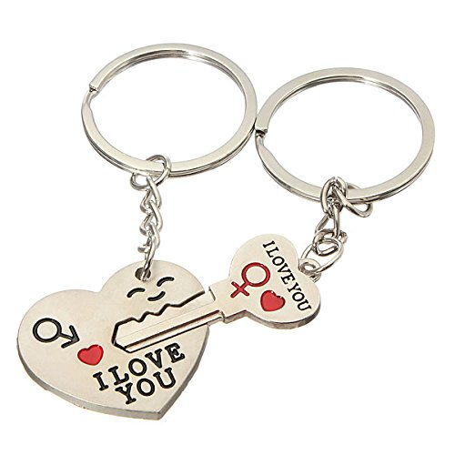 KINGSO Love Heart Keychain Ring Keyring Key Fob Romantic Creative Gift Couple I LOVE YOU New