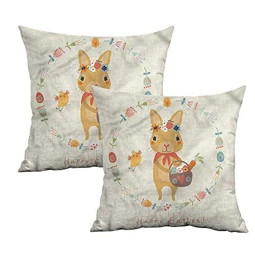 Khaki home Rabbit Square Kids Pillowcase Forest Animal