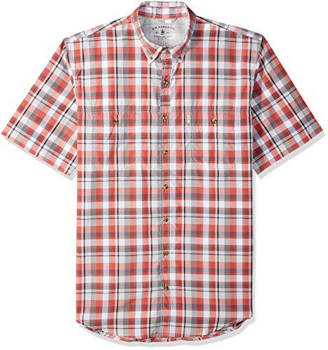 G.H. Bass & Co. Men's Big and Tall Explorer Short Sleeve Fishing Shirt Plaid Button Pocket, Cranberry, - Bass Cotton Shorts