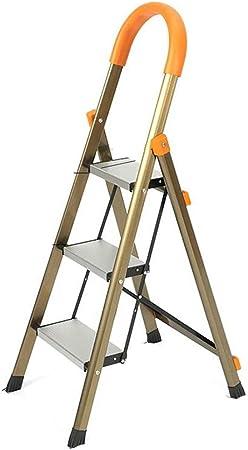 Escalera de Mano Taburete Plegable del Hogar De Aleación De Aluminio Espesado Balcón Cocina Garaje Cueva Patio Manual (Color : Brown, Size : 42 * 58 * 113cm): Amazon.es: Hogar