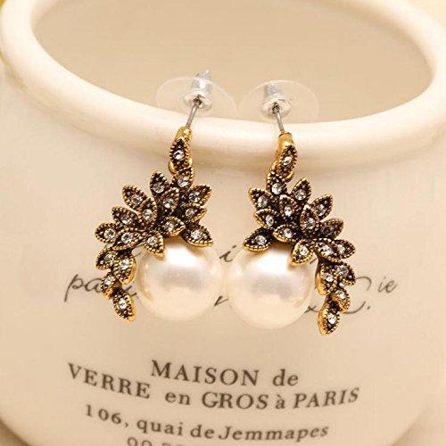 JSDY Womens Girls Gold Plated Flower Pearl Ear Stud Earrings Unique (Nickel Emerald Pearl)