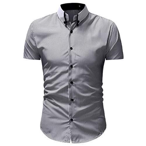 Sunhusing Mens Striped Print Lapel Short Sleeve T-Shirt Top Single-Breasted Button Slim Fit Shirt Gray