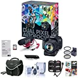 Canon EOS 80D DSLR Video Creator Kit EF-S18-135/3.5-5.6 IS USM Lens - Rode VIDEOMIC GO Mic, 32GB SD Card - Power Zoom Adapter Free Accessory Bundle