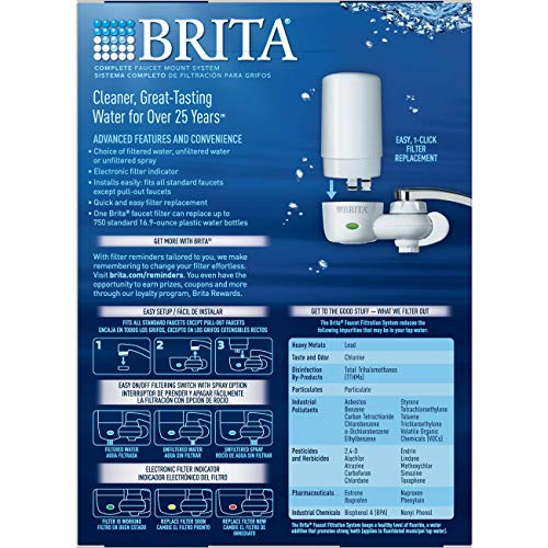 Brita Tap Water Filter System, Water Faucet Filtration System with Filter Change Reminder, Reduces Lead, BPA Free, Fits Standard Faucets Only - Complete, White by Brita (Image #2)