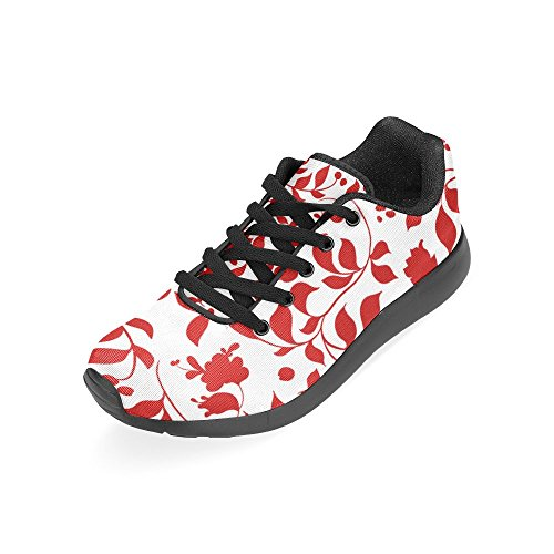 Interestprint Womens Väg Löparskor Jogging Lätta Sport Gå Atletiska Sneakers Röda Blad