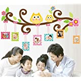 KitMax (TM) Removable Personalized Cartoon Owl Tree Family Photo Frame Nursery Bathroom Kitchen Bedroom Dining Living Room Mirror Office Dorm Home DIY Modern Art Wall Decor Stickers