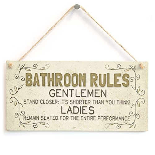 Meijiafei Bathroom Rules - Funny Bathroom/WC Home Accessory Gift Sign -