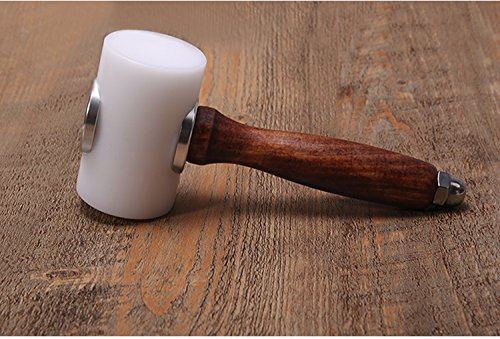 Gaosi Tools Professional DIY Leathercraft New Wooden Mallet Carving Hammer (Brown (wood)+White Nylon T Head)