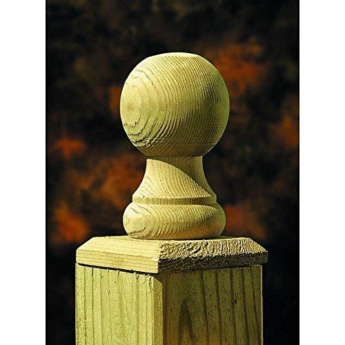 4 in. x 4 in. Pressure-Treated Cedar-Tone Pine Ball Top Finial (6-Pack) ()
