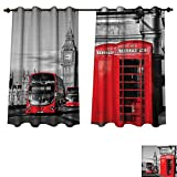 dark grey curtains uk RuppertTextile London Bedroom Thermal Blackout Curtains London Telephone Booth in The Street Traditional Local Cultural Icon England UK Retro Blackout Draperies for Bedroom Red Grey W55 x L63 inch