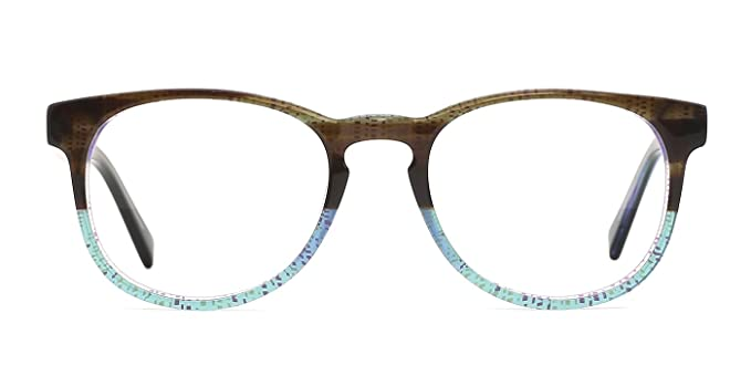 a879094123 Amazon.com  TIJN Two-tone Acetate Round Keyhole Frame Eyewear  Clothing
