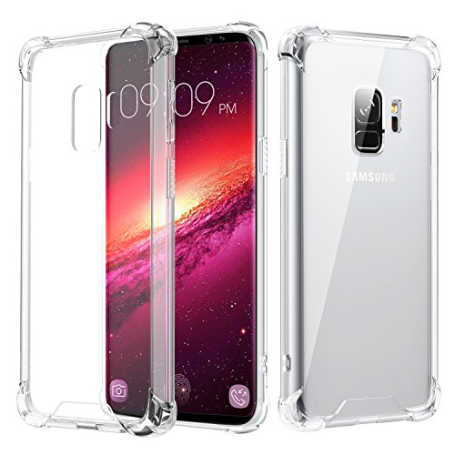 Samsung Galaxy S9 Case, MoKo Crystal Clear TPU Bumper Cushion Cover with Reinforced Corners, Anti-scratch Hard PC Transparent Back Panel for Samsung Galaxy S9 5.8 Inch