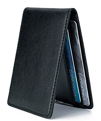 Ultra Slim Mini Size Wallet ID Window Card Case with RFID Blocking - Black