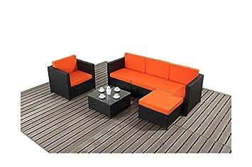 Rattan Garden Furniture 6 Piece Sofa Set In Black With Orange