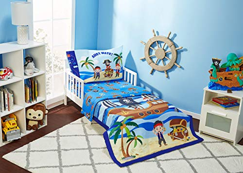 EVERYDAY KIDS 4 Piece Toddler Bedding Set – Pirates Treasure Hunt – Includes Comforter, Flat Sheet, Fitted Sheet and…