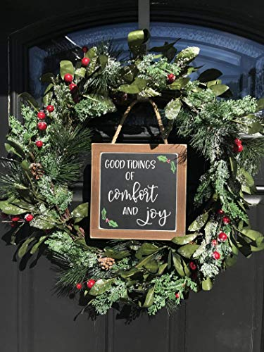 CELYCASY Good Tidings of Comfort and Joy Mini Wood Sign Christmas Decor Wreath Decor Front Door Decor Farmhouse Decor Farmhouse Christmas