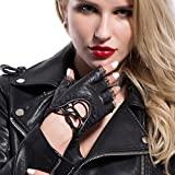 MATSU Women's Nappa Leather Steampunk Cosplay Gloves Luxury Handsewn Fingerless Cover with Lace M9223 (X-large, black)