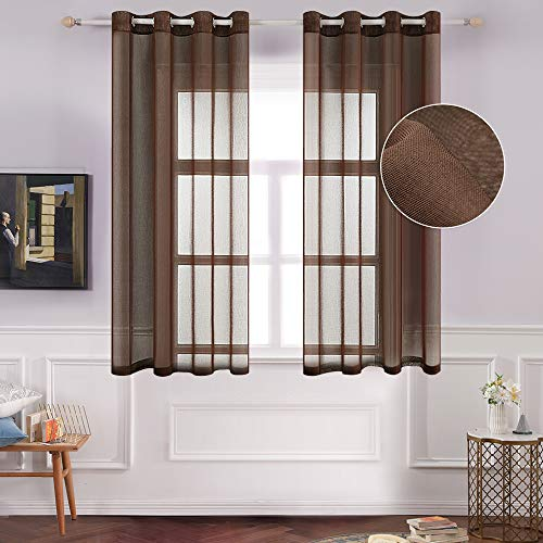 (MIULEE 2 Panels Chocolate Semi Sheer Window Curtains Elegant Grommet Top Window Voile Panels/Drapes/Treatment Linen Textured Panels for Bedroom Living Room (54X63 Inches))