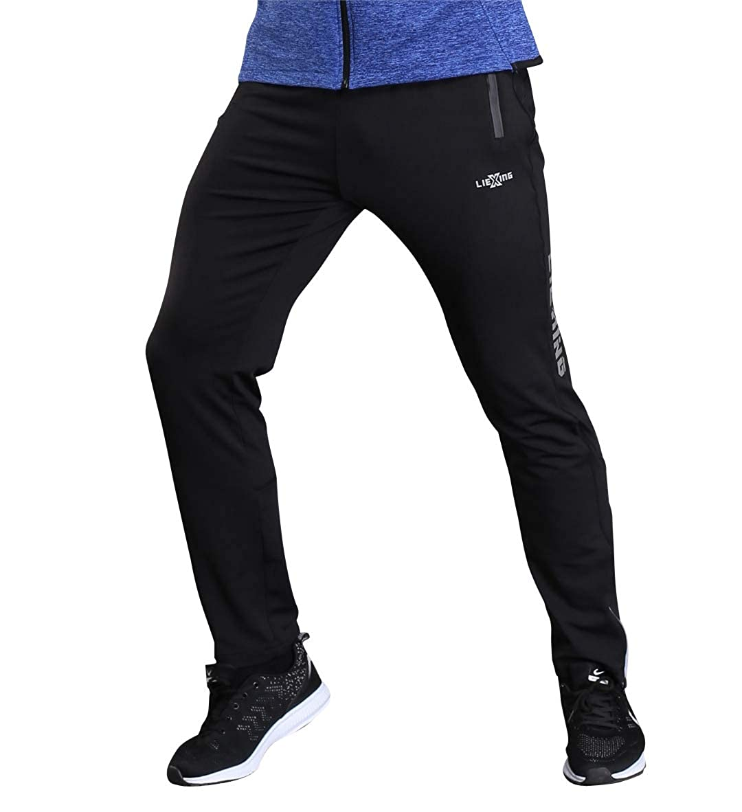 INIBUD Mens Fleece Jogger Pants Athletic Workout Sweat Pants with Zipper Pockets