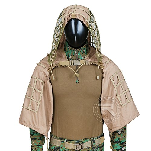 Tactical Ghillie Jacket Sniper Tog Ghillie Suit Base Brown ()