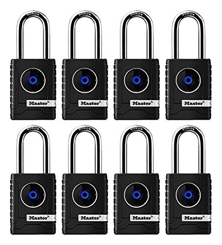 Master Lock 4401DLH Bluetooth Outdoor Padlock with Easy Backup Keypad Entry, 8-Pack, by Master Lock