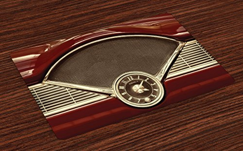 Lunarable 1950s Place Mats Set of 4, Clock on the Dashboard of Maroon Classic Fifties Car Classical Automobile Close up, Washable Fabric Placemats for Dining Room Kitchen Table Decor, Redwood Sepia