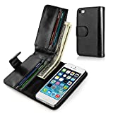 TNP iPhone SE / 5S / 5G/ 5 Wallet Case - Synthetic Leather Wallet Case Flip Cover with Credit ID Card Slots and Money Pocket for Apple iPhone 5 5G 5S SE (Black)