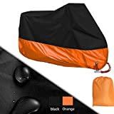 Large Motorcycle Cover, Enk Motorbike Waterproof Cover for Honda, Yamaha, Suzuki, Harley., Waterproof, Dust-proof, UV Protective, Breathable Cover Outdoor for All Season (XXL) (Black+Orange)