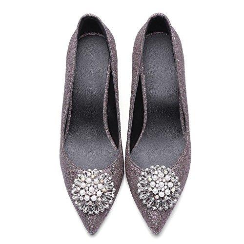Singles Femeninos Zapatos Zapatos High-Heel Shallow-Water fresca pequeña perforación zapatos con punta de metal, de color púrpura oscuro 39