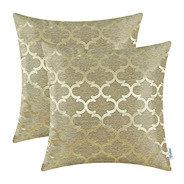 Pack of 2 CaliTime Throw Pillow Covers 18 X 18 Inches Both Sides, Quatrefoil Accent Geometric, Gold