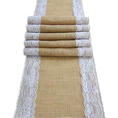 Amajoy AmaJOY1pc 12x70 Inch  Jute Burlap and White Lace
