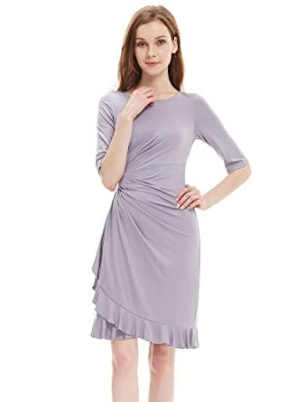 Ever-Pretty Womens Half Sleeve Ruched Waist Wear to Work Dress 4 US Grey