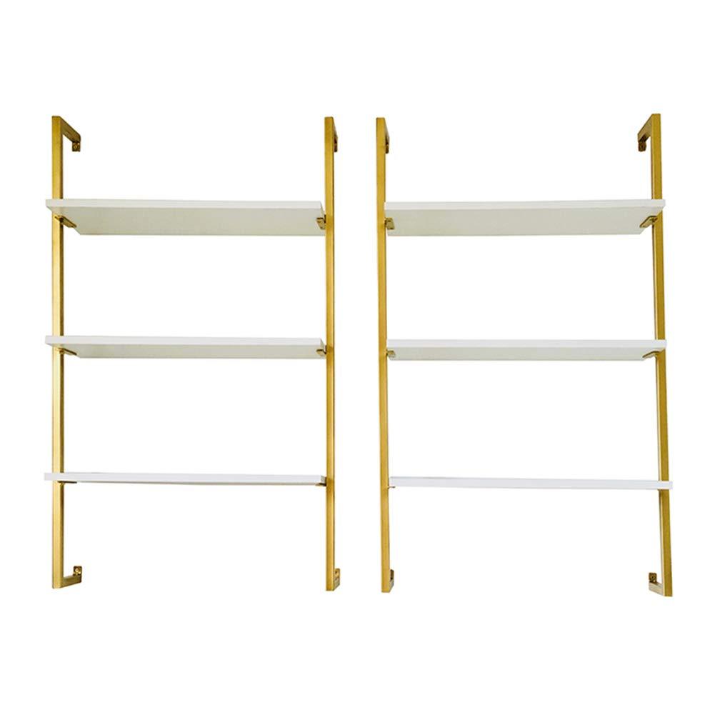 LIANGJUN 壁掛け棚 物品棚無垢材 アイアンアート 単純な 現代の ストレージ 本棚 リビングルーム 多層 、3サイズ (色 : ゴールド, サイズ さいず : B+B) B07MQ7H9TS ゴールド B+B