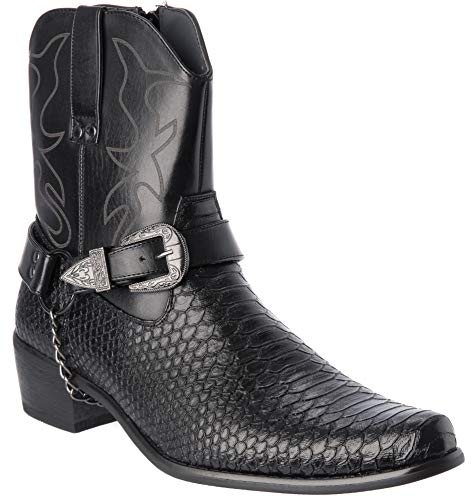 Japan Mens Wester Style Cow-Boy Boots New Upgrade Premium PU-Leather Black  Dress 801662f7598e