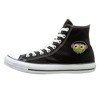86d14082bc4ce Amazon.com: Frideing Green Owl Canvas Shoes High Top Sport Lace ups ...