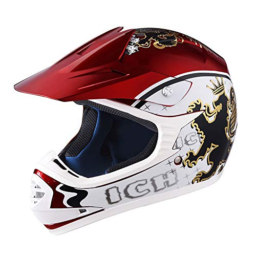 AHR DOT Youth Motocross Helmet Full Face Offroad Dirt Bike Helmet Motorcycle ATV Mountain Bike Sports M